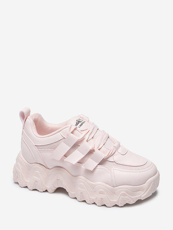 Zigzag Insole Breathable Platform Running Sneakers - PINK EU 40