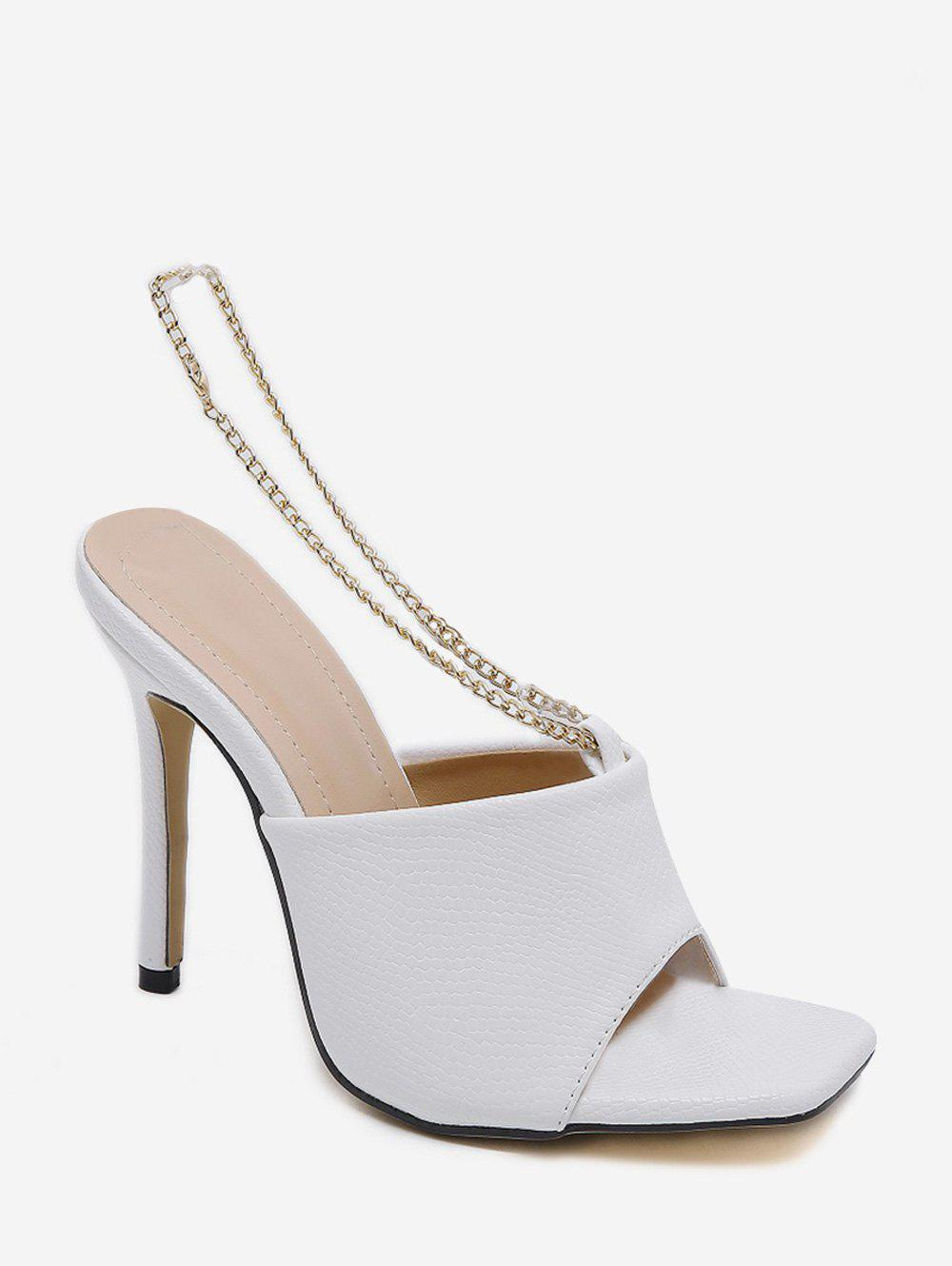 Metal Chain Leather Super High Heel Sandals - WHITE EU 39