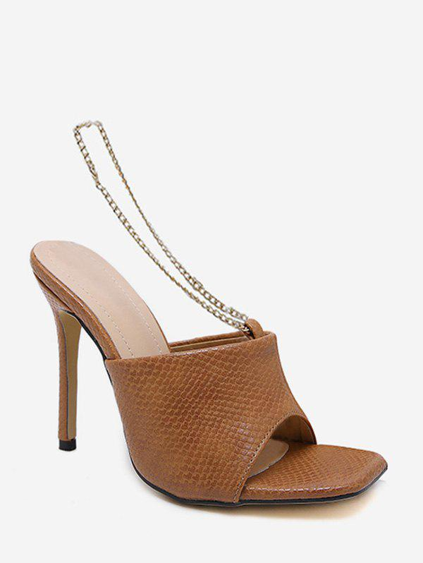 Metal Chain Leather Super High Heel Sandals - BROWN EU 40