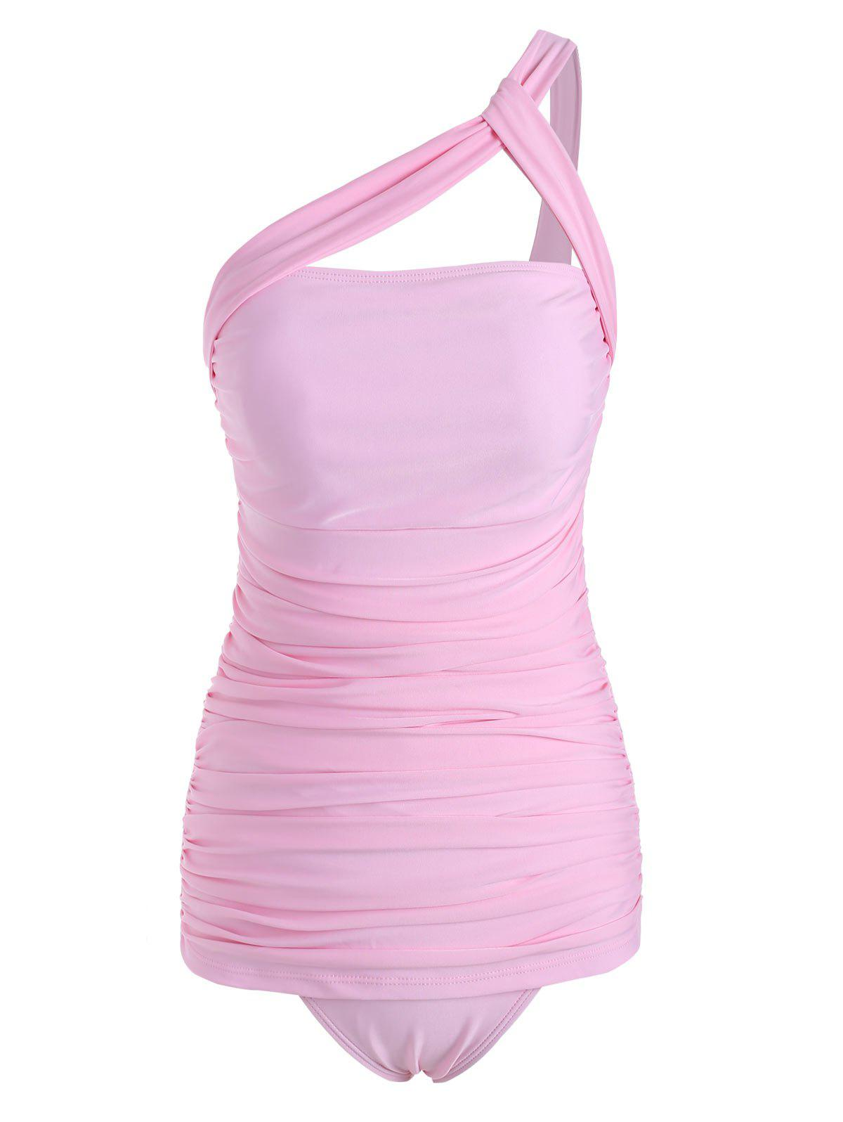 Ruched One Shoulder Padded Tankini Swimwear - PIG PINK 2XL