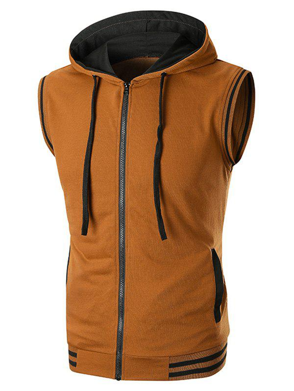 Ribbed Contrast Zipper Fly Hooded Tank Top - COFFEE 3XL