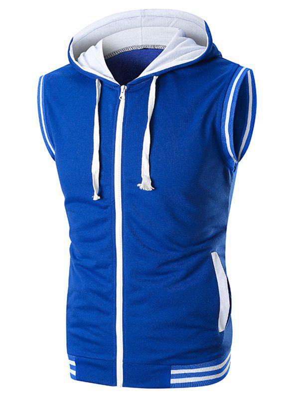 Ribbed Contrast Zipper Fly Hooded Tank Top - BLUE 3XL