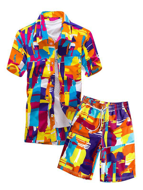 Colorful Geometric Print Pocket Shirt and Shorts - multicolor A L