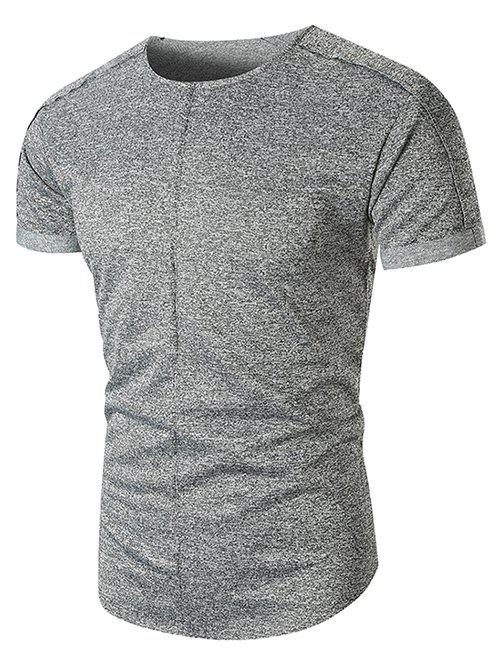 Rolled Cuff Marled Short Sleeves Tee - GRAY 3XL