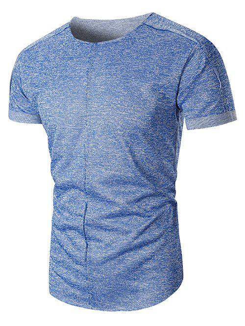 Rolled Cuff Marled Short Sleeves Tee - BLUE L