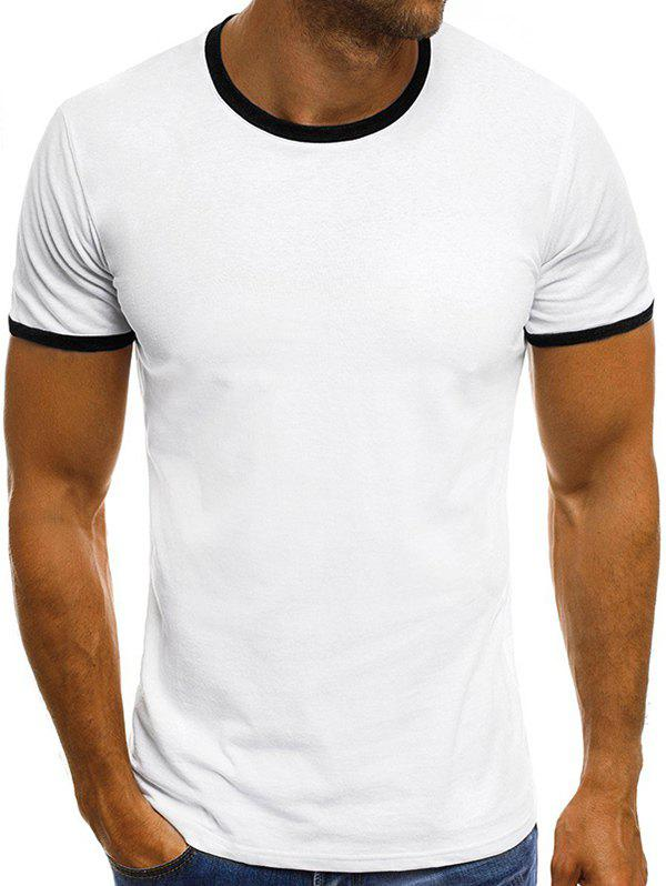 Casual manches courtes T-shirt Ringer - Blanc 3XL
