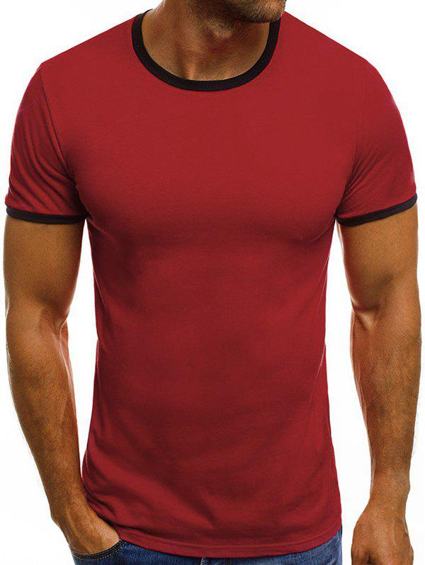 Casual Short Sleeve Ringer T Shirt - RED 3XL