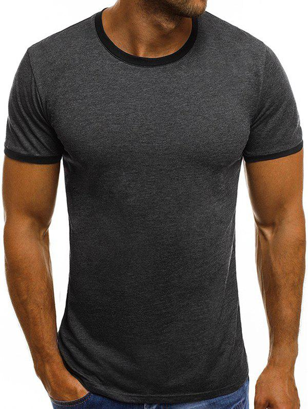 Casual Short Sleeve Ringer T Shirt - DARK GRAY XL