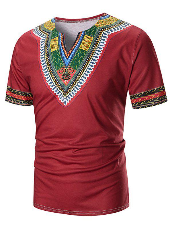 V Neck Ethnic Zig Zag Printed Tee - RED M