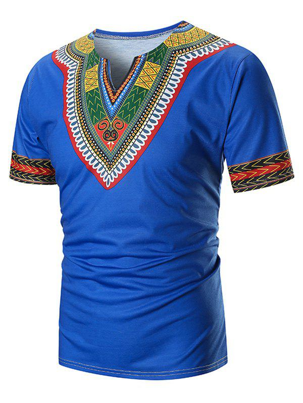 V Neck Ethnic Zig Zag Printed Tee - BLUE 3XL