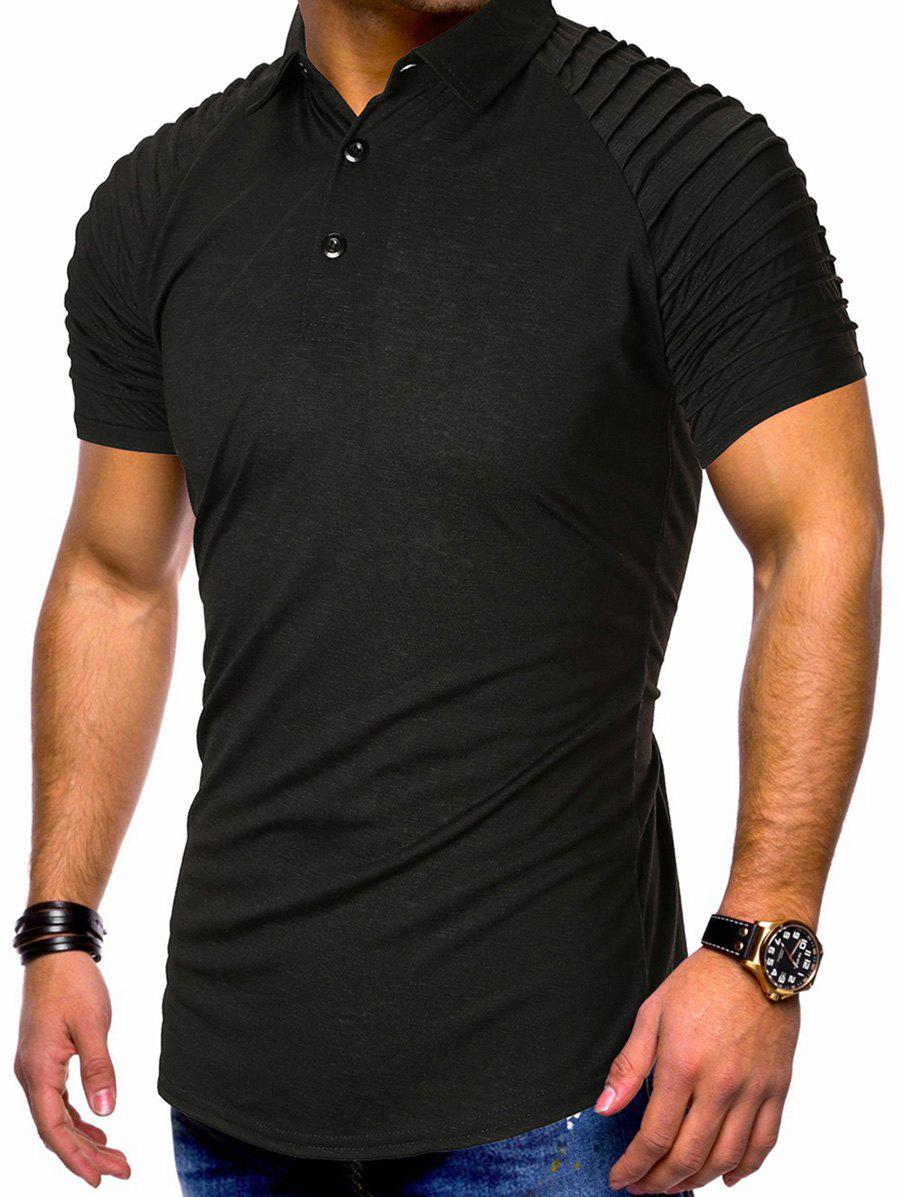Pure Color Pleated Shoulder Half Button T-shirt - BLACK 2XL