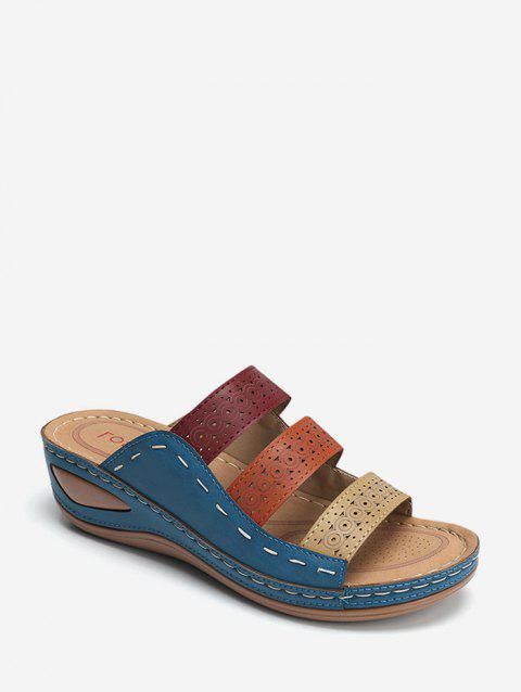 Color-blocking Hollow Out Low Heel Slides