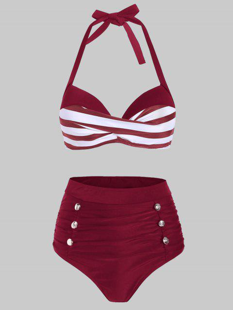 Striped Moulded Mock Button Tummy Control Bikini Swimwear