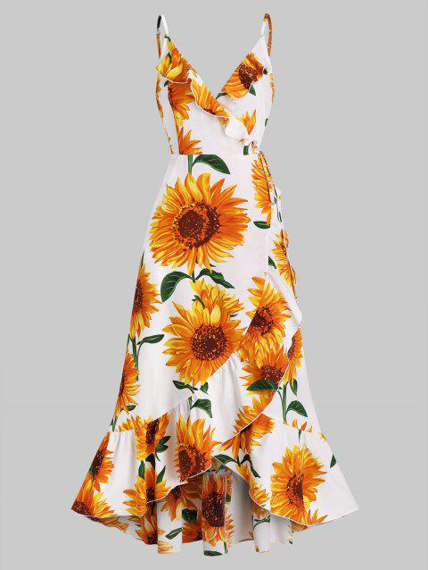 Sunflower Print Spaghetti Strap Wrap Maxi Dress