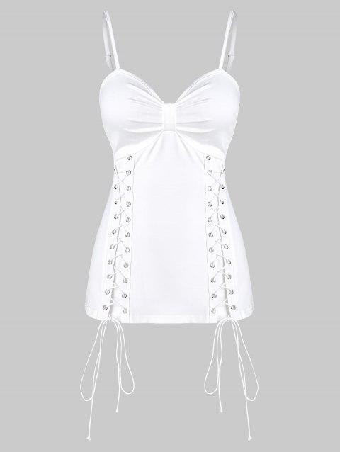 Solid Lace Up Ruched Cami Tank Top