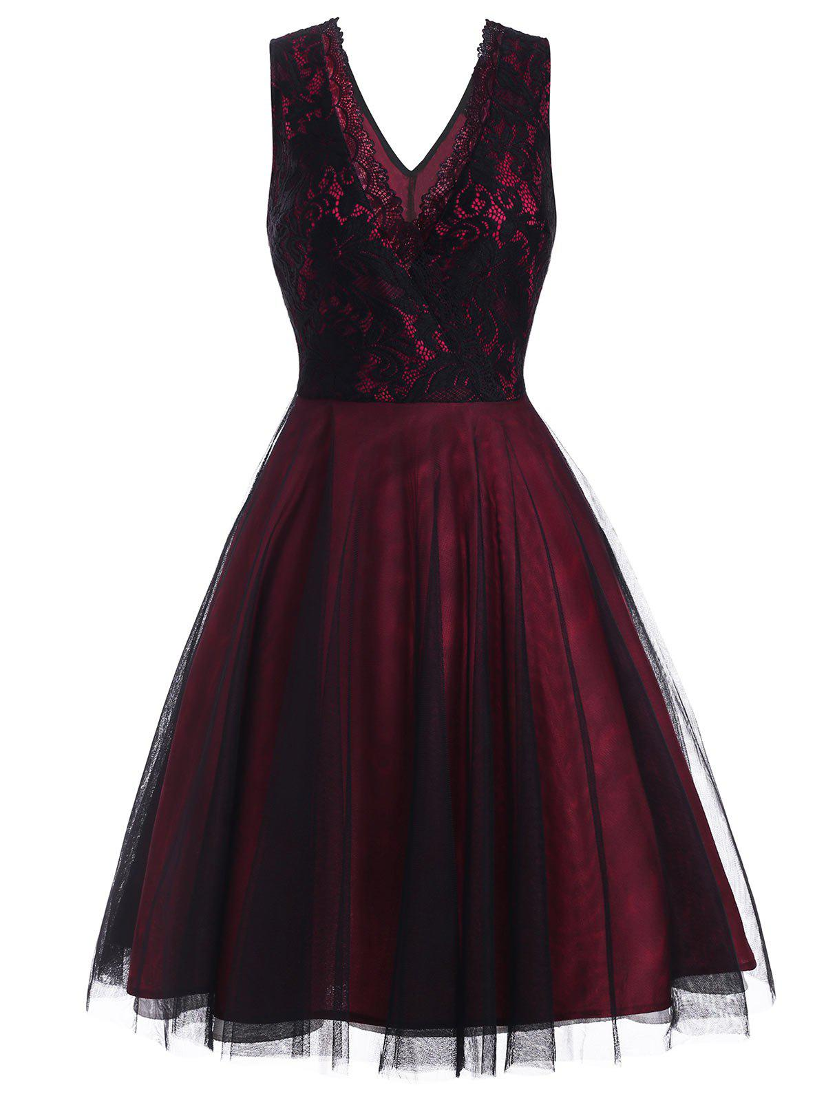 Lace Overlay Sleeveless Surplice Party Dress - RED WINE XL