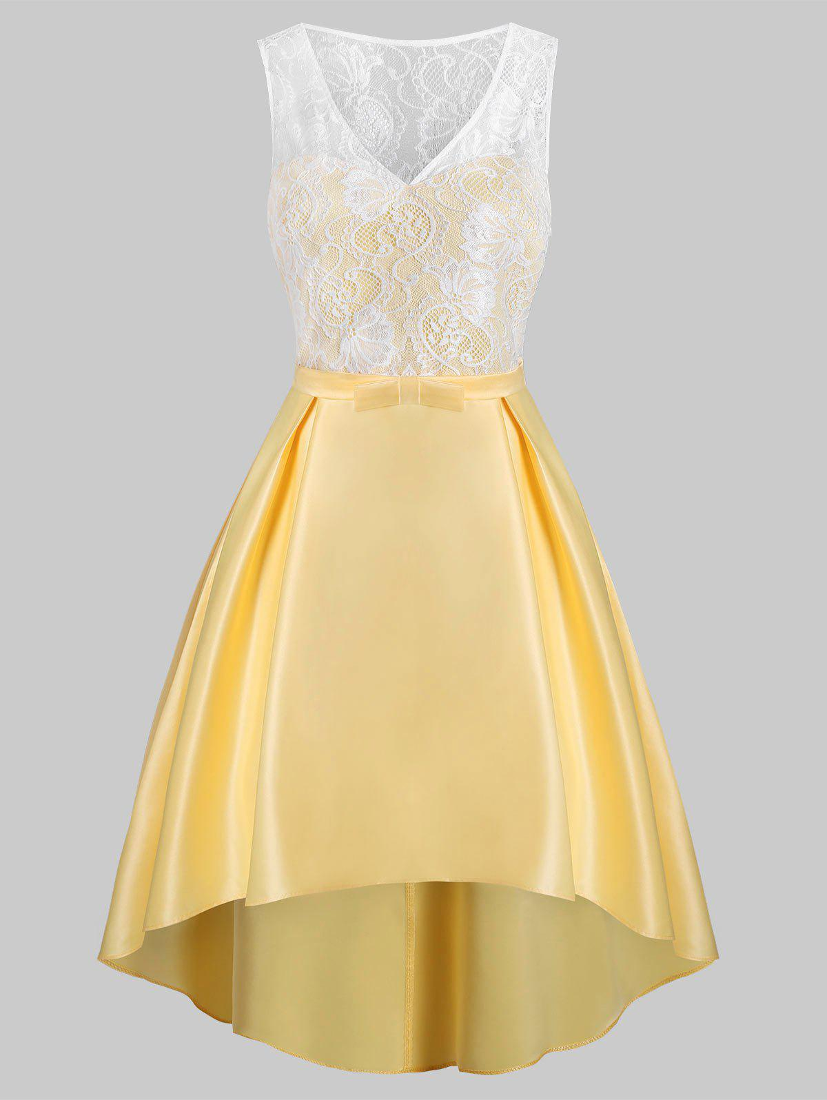 Lace Insert Belted High Low Party Dress - YELLOW L