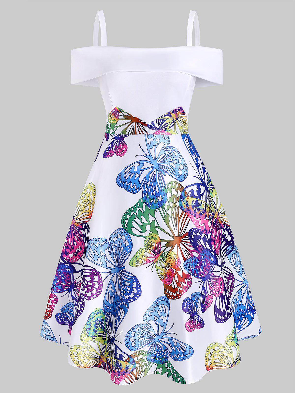 Butterfly Print Foldover Open Shoulder Dress - WHITE XL