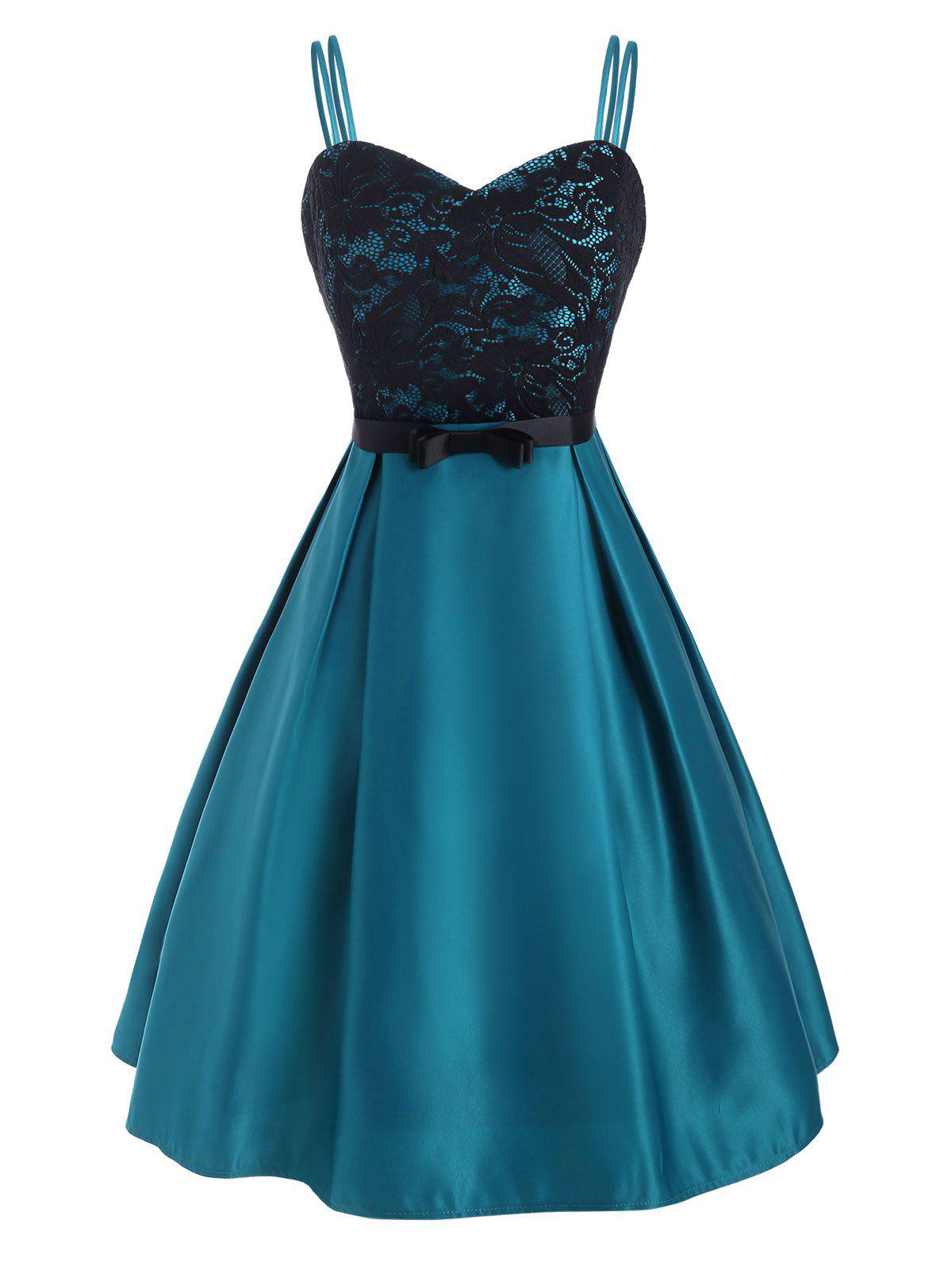 Flower Lace Belted Dual Straps Party Dress - BLUE IVY L
