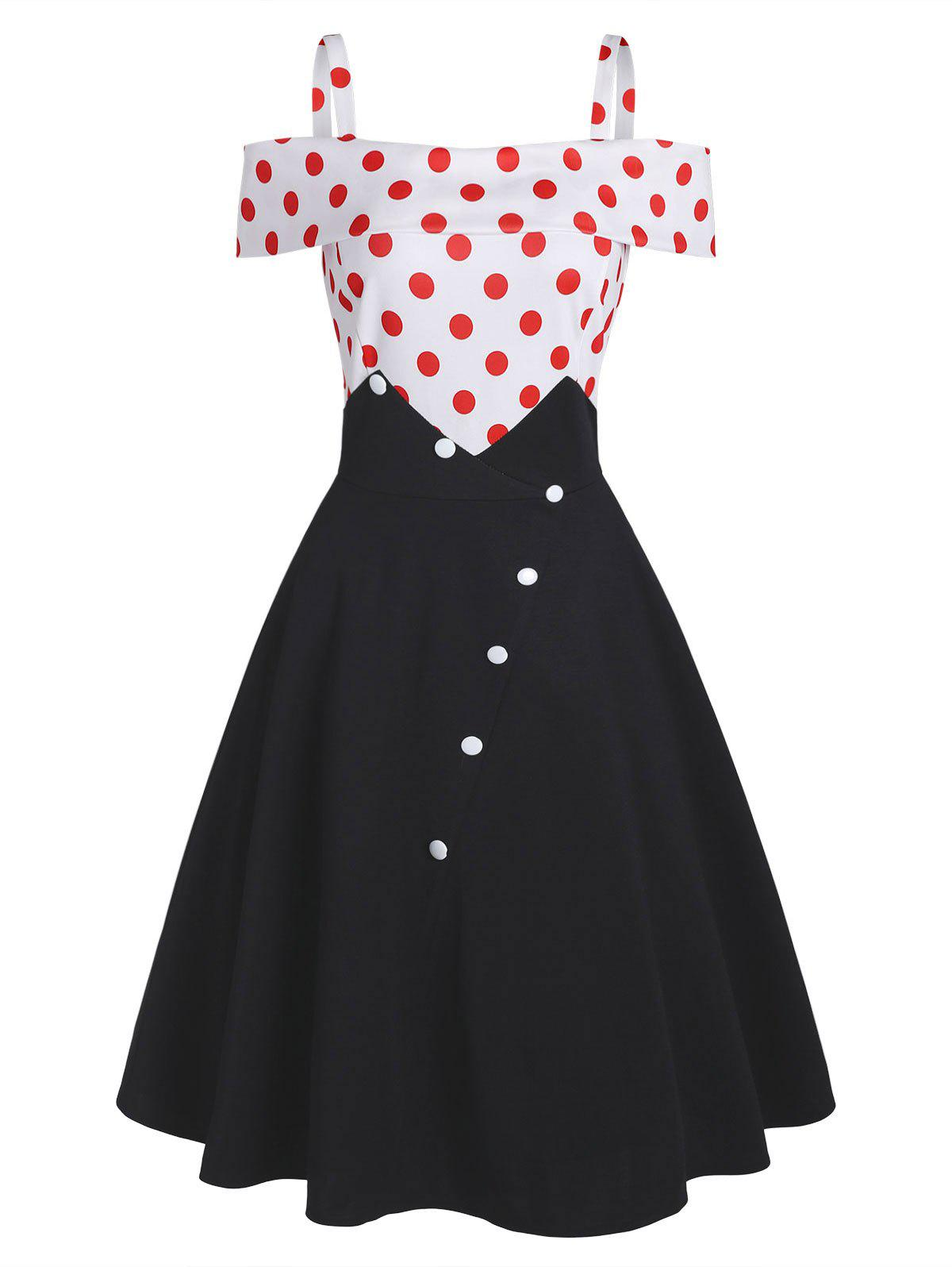 Polka Dot Foldover Mock Button Cold Shoulder Dress - BLACK S