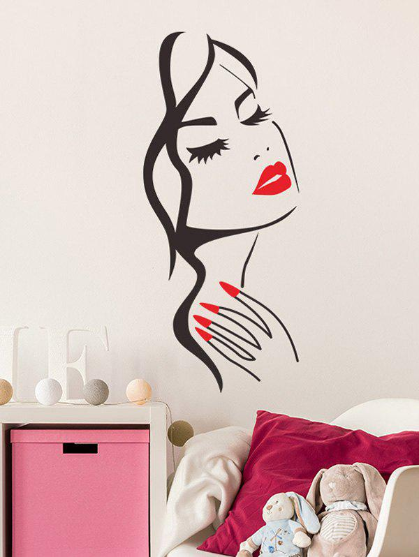 Lady Face Background Wall Sticker Set - multicolor 57*24CM