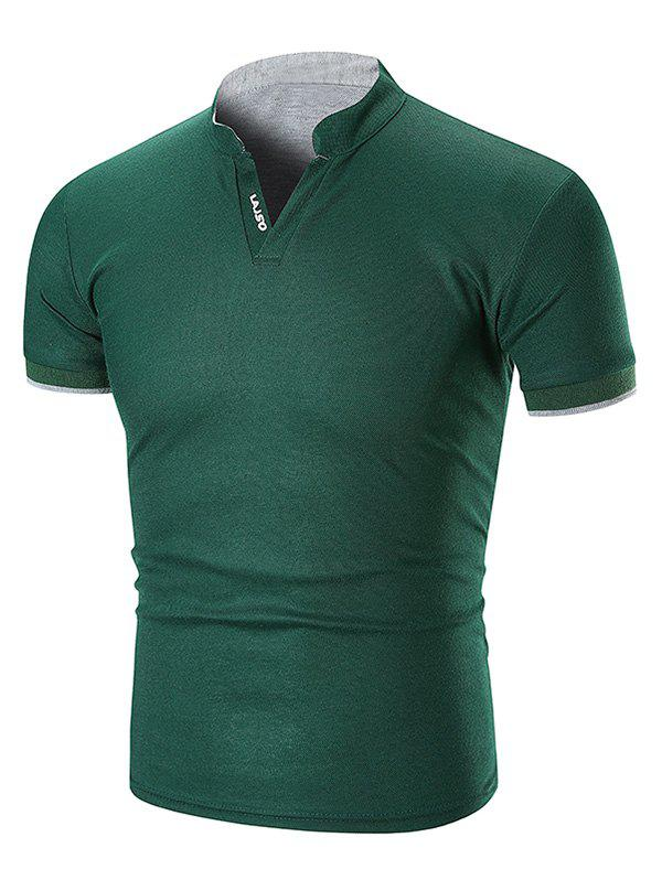 Two Tone Letter Detail Stand Collar T Shirt - GREEN M