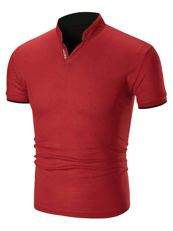 Two Tone Letter Detail Stand Collar T Shirt - RED XS