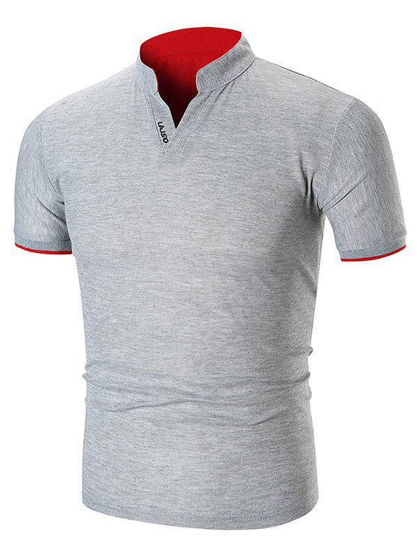 Two Tone Letter Detail Stand Collar T Shirt - GRAY XS