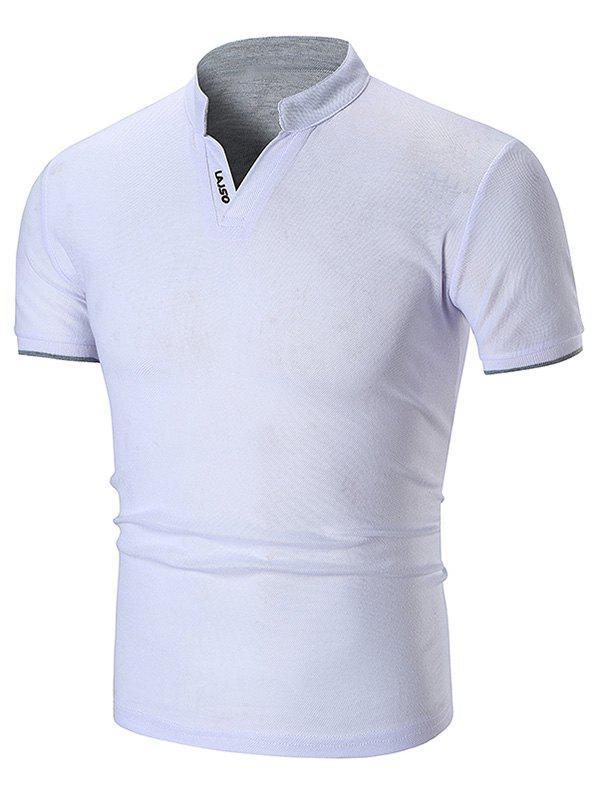 Two Tone Letter Detail Stand Collar T Shirt - WHITE XS
