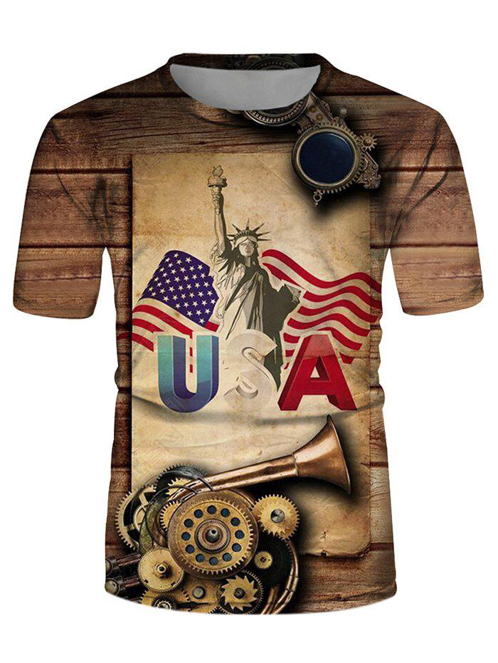 American Flag Statue Liberty Graphic Casual Short Sleeve Tee - multicolor 3XL