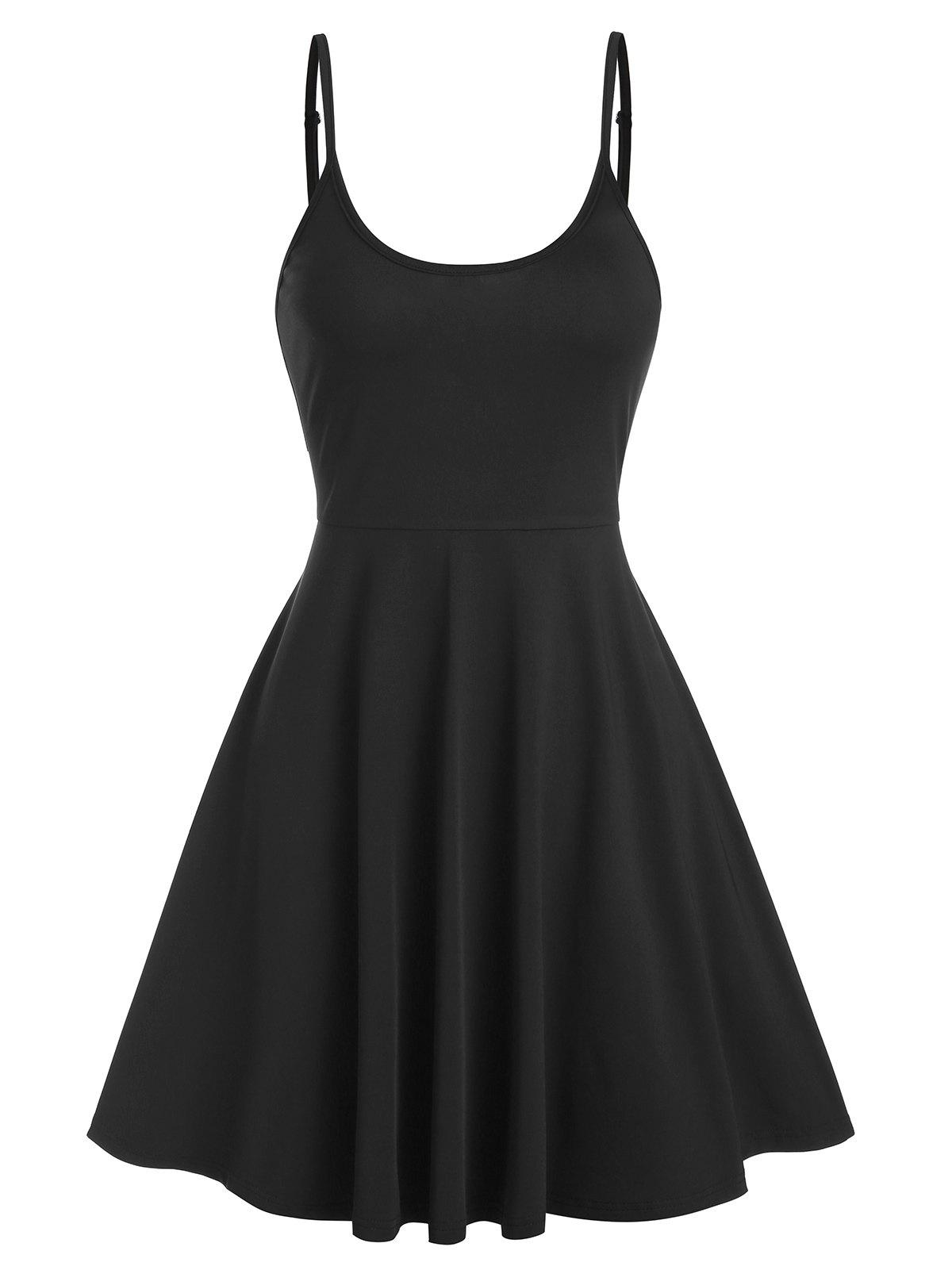 Robe Evasée Simple à Bretelle Fine - Noir XL