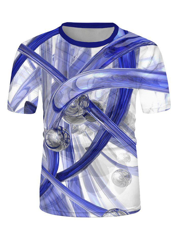 Abstract Bar And Tube Print Casual Short Sleeve Tee - multicolor L