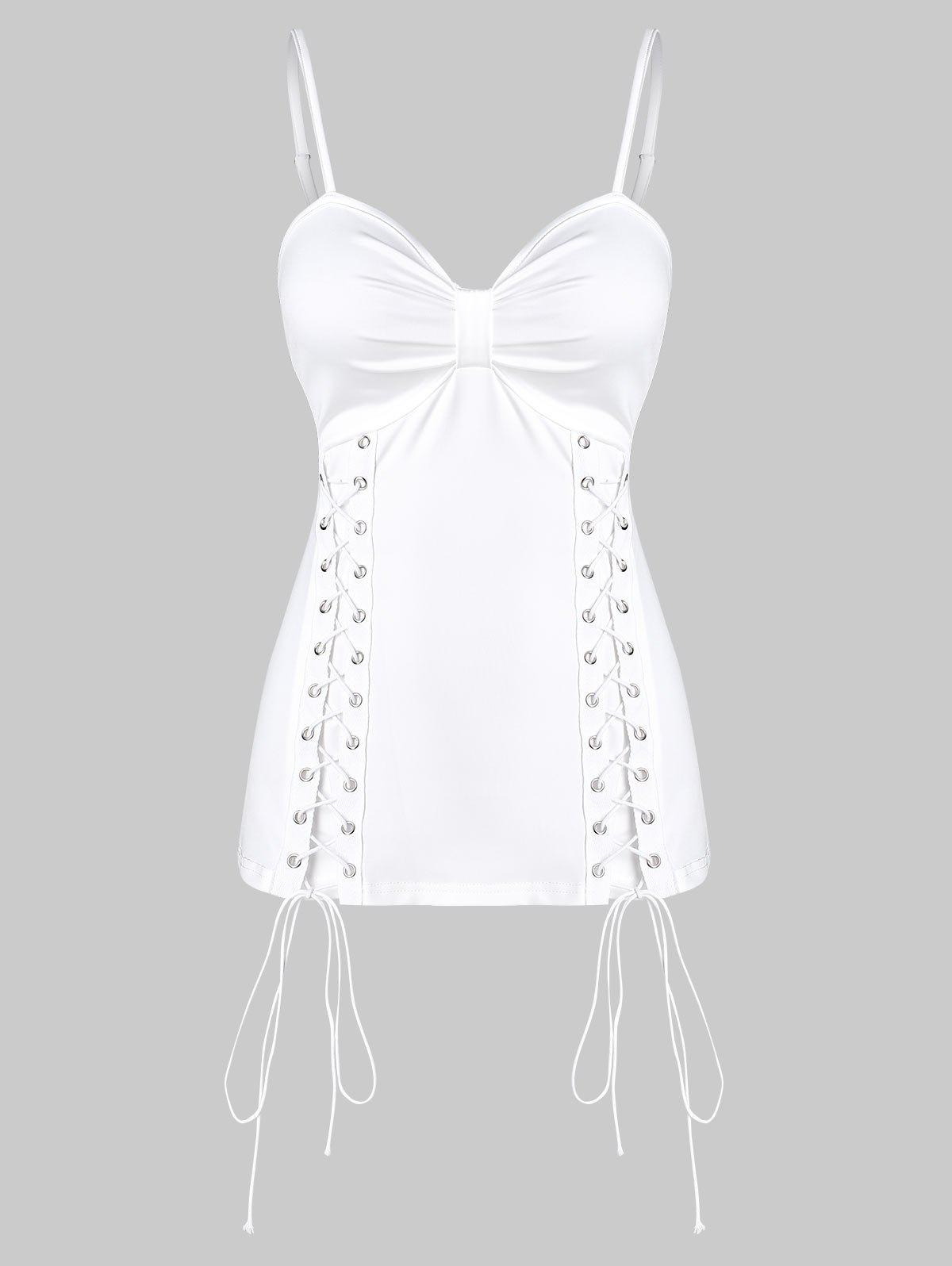 Solid Lace Up Ruched Cami Tank Top - WHITE 3XL
