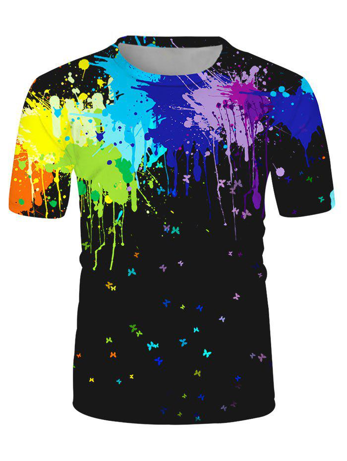 Splatter Paint Butterfly Print Lounge Short Sleeve T Shirt - multicolor M