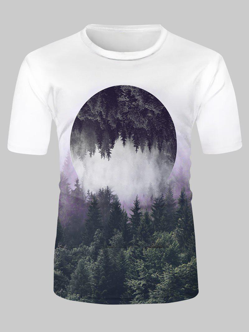 Reflected Forest Landscape Graphic Casual Short Sleeve T Shirt - multicolor 2XL