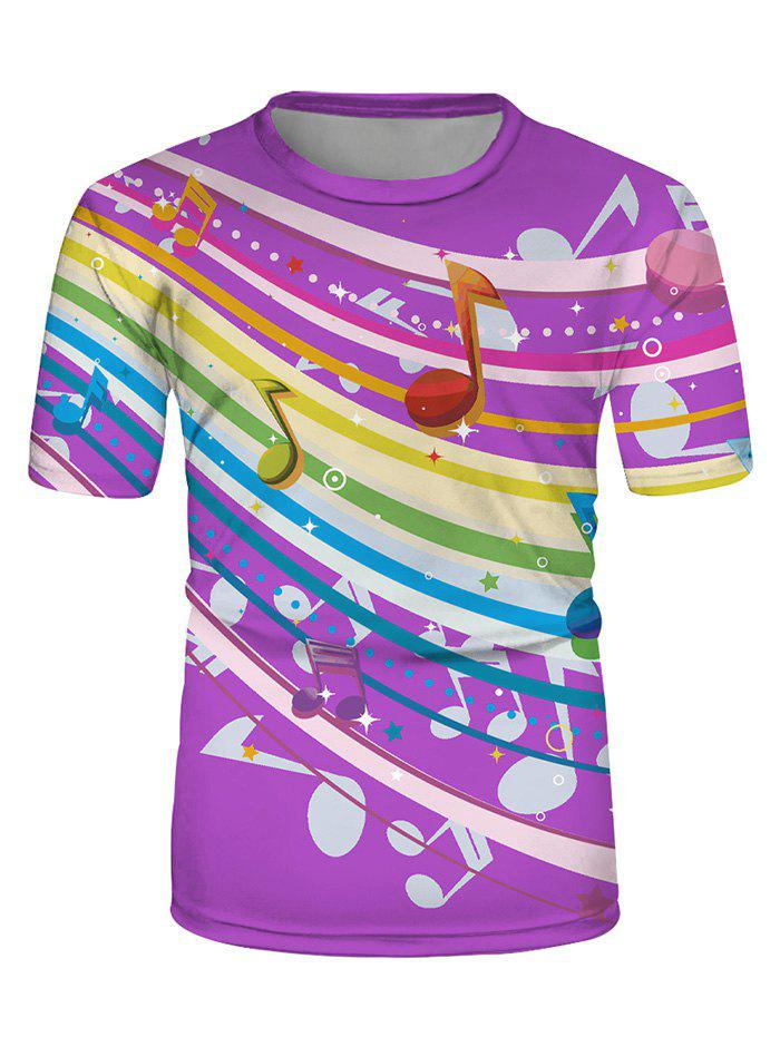 Colorful Music Note Print Casual Short Sleeve T Shirt - multicolor XL