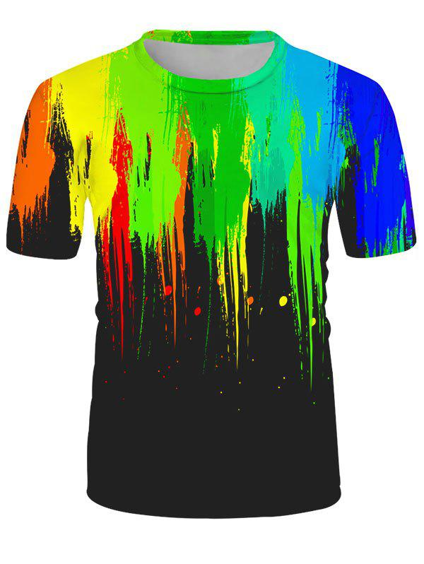 Splatter Paint Print Crew Neck Lounge Tee - multicolor L