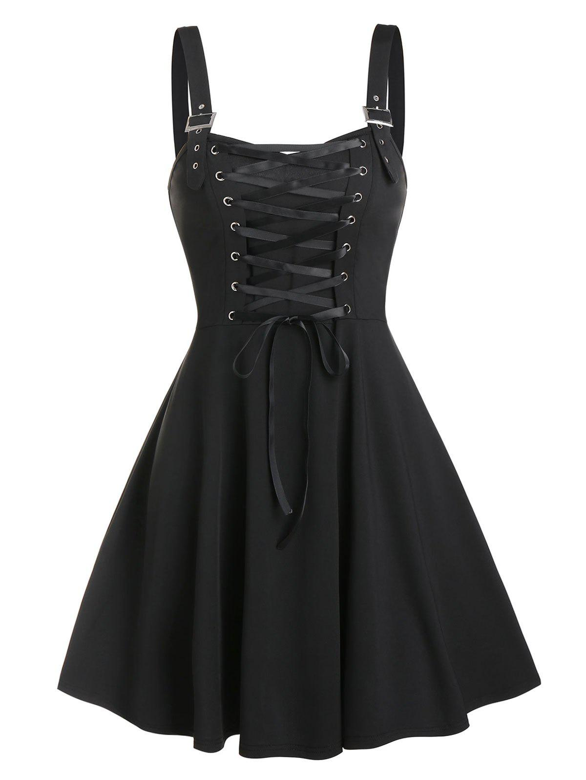 Fit And Flare Lace Up Dress - BLACK 3XL