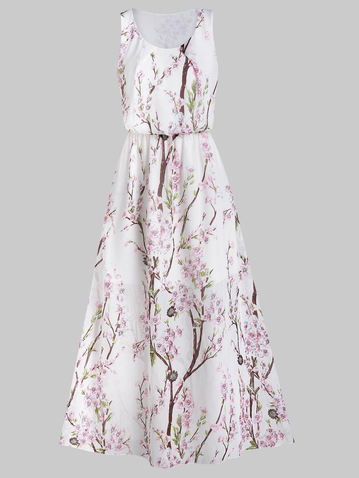 Floral Print Elastic Waist Maxi Dress - WHITE S