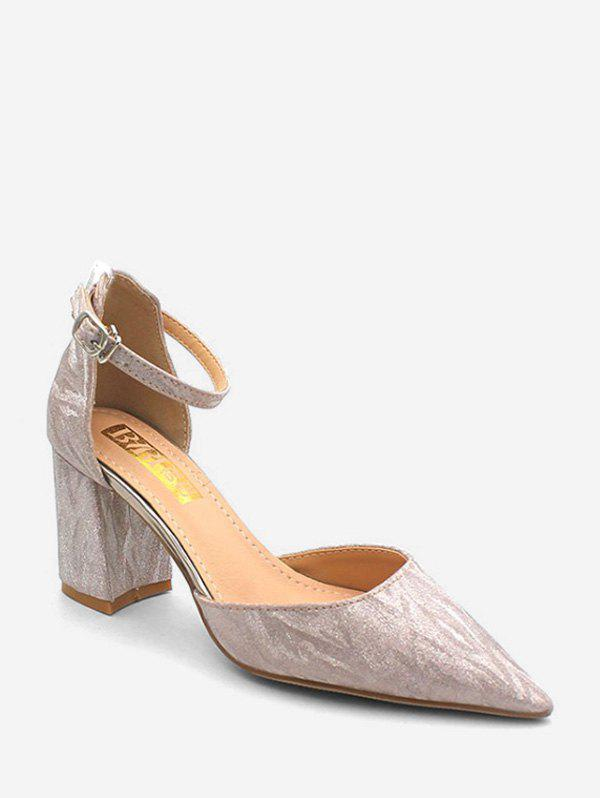 Shiny Convertible Ankle Strap Textured Mid Heel Pumps - PINK EU 39