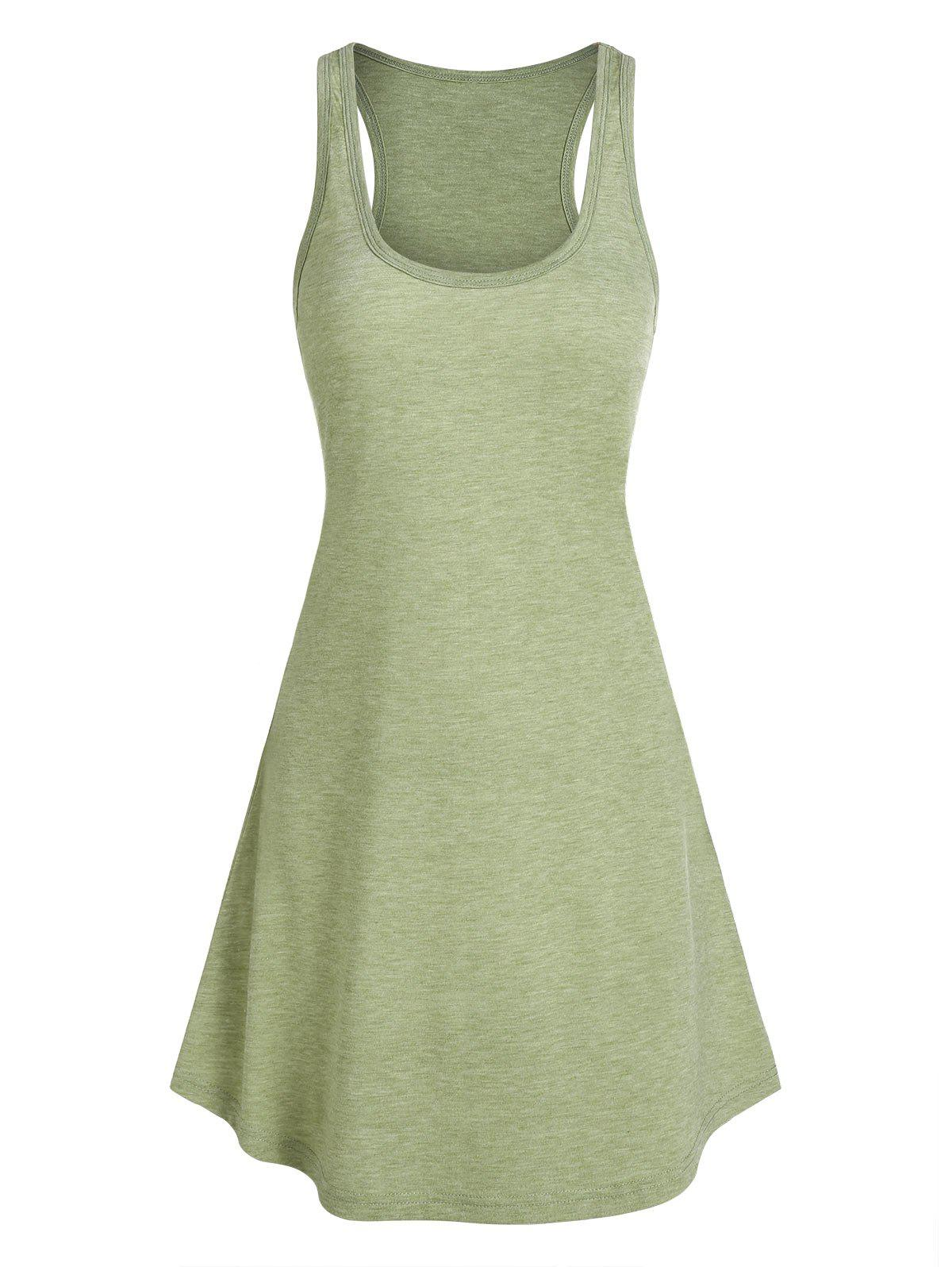 Curved Hem Heathered Tank Dress - FERN GREEN M