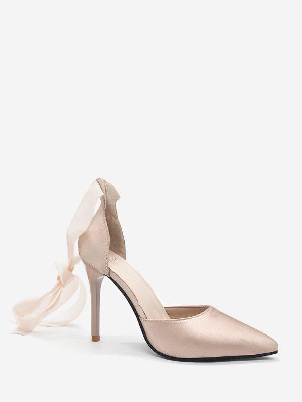 Pointed Toe Ankle Wrap High Heel Satin Pumps - CHAMPAGNE EU 41
