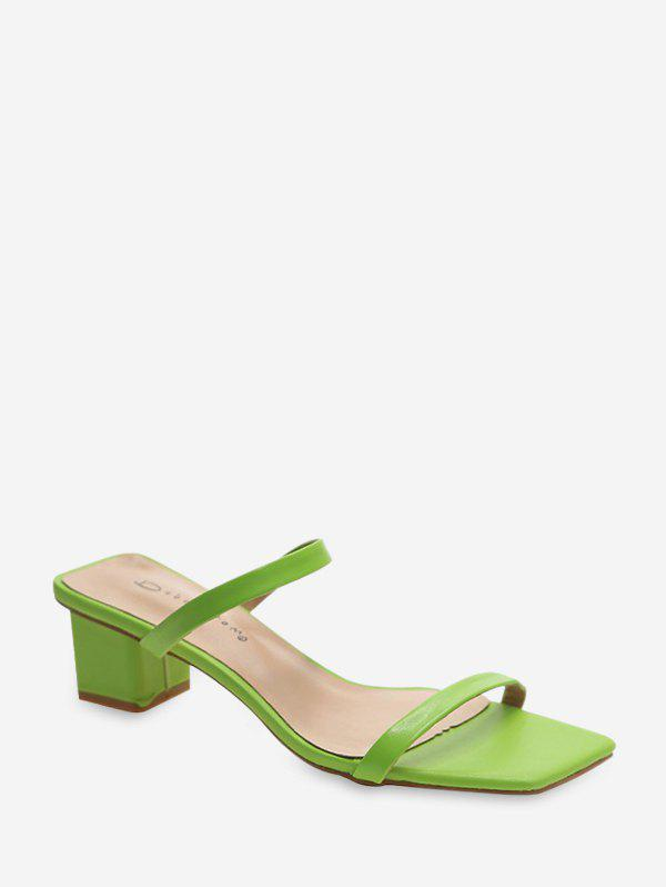 Candy Color Dual Straps High Heel Slides - YELLOW GREEN EU 39