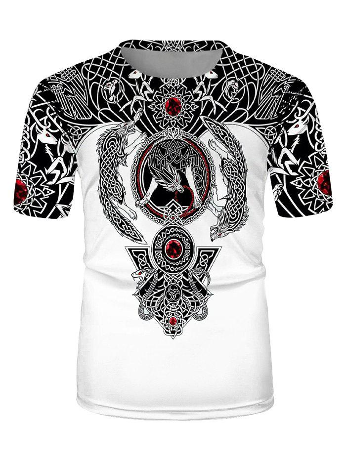 Tribal Wolf Print Casual Short Sleeve T Shirt - multicolor M