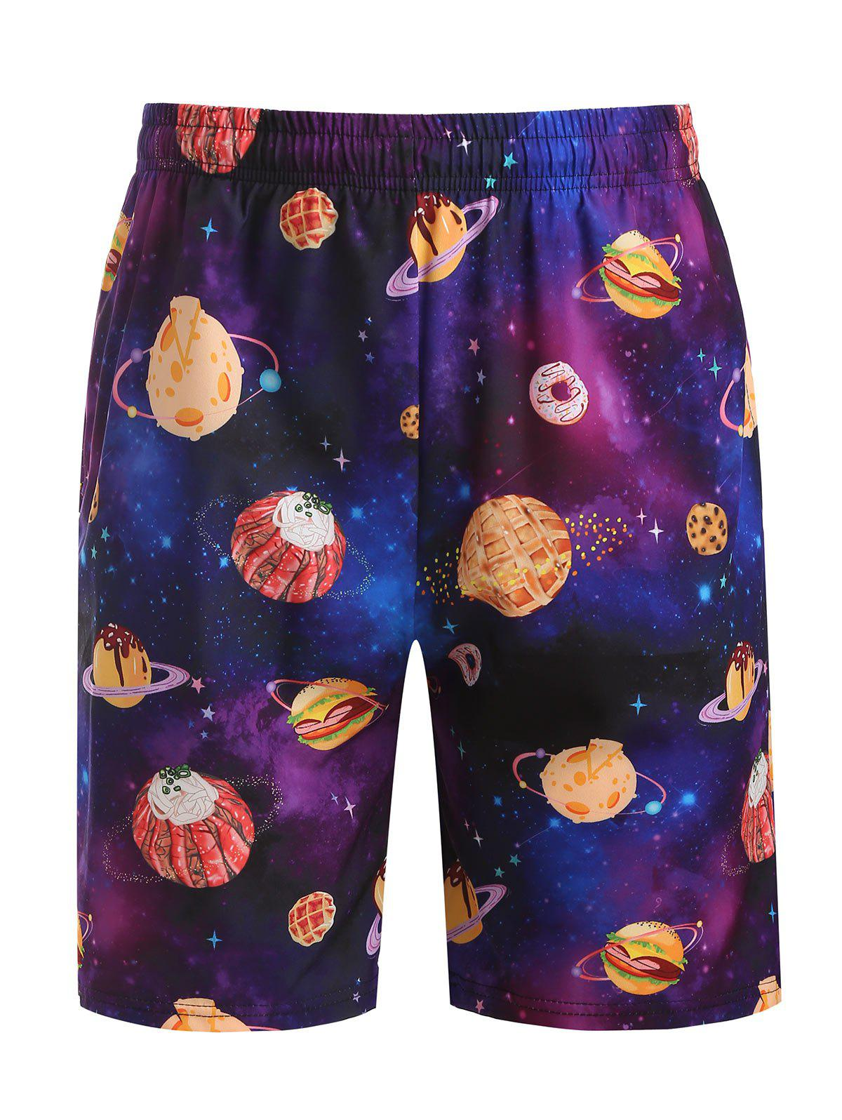 Galaxy Dessert Print Beach Shorts - PURPLE IRIS L