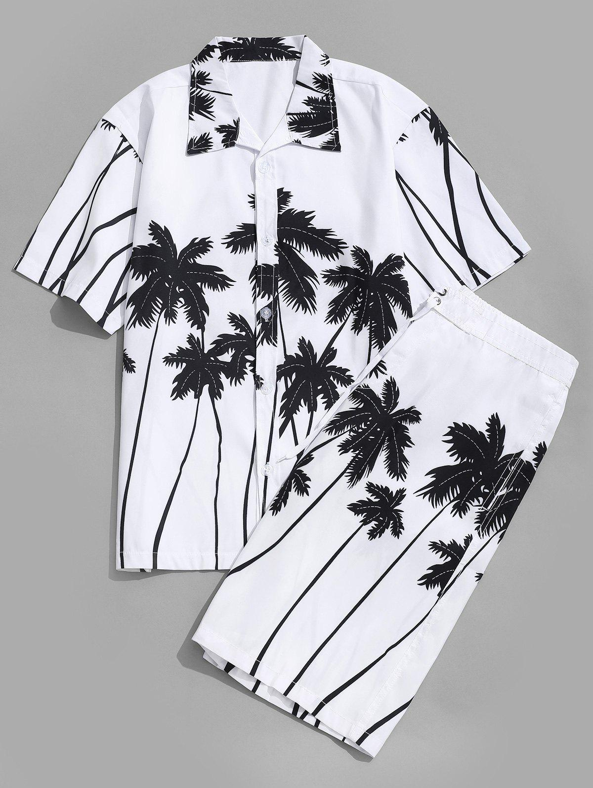 Coconut Palm Printed Hawaii Shirt and Beach Shorts - WHITE M