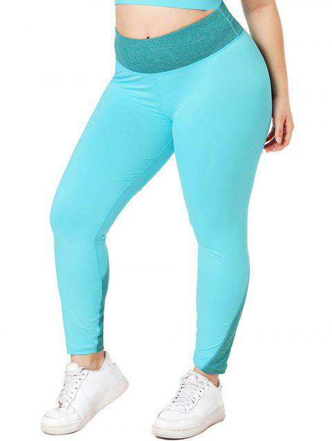 Heathered Panel Stitching Sports Plus Size Leggings