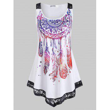 Plus Size Lace Insert Feather Print Tank Top