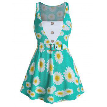Daisy Print Mock Button Belted Tank Top