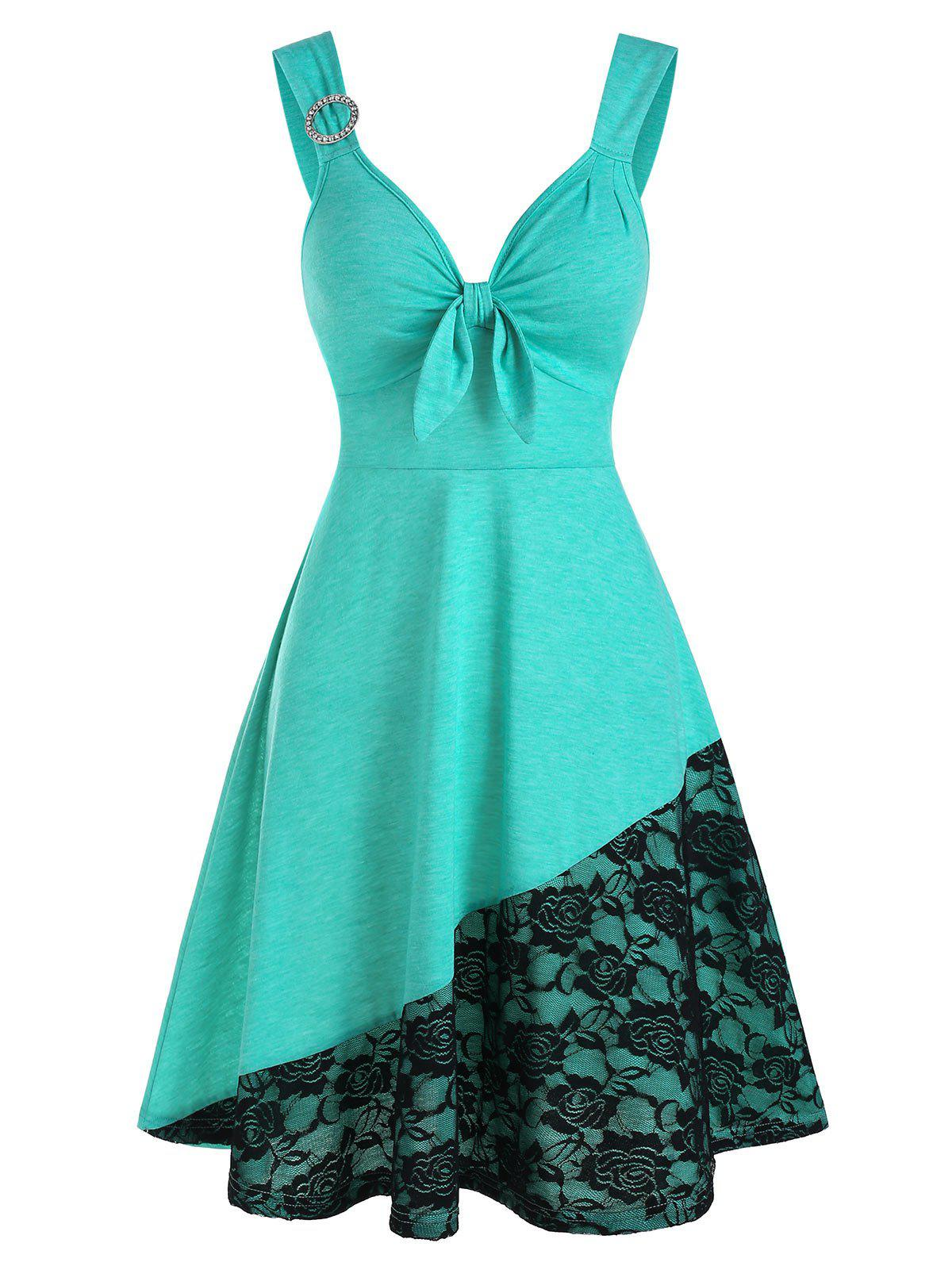 Flower Lace Panel Sleeveless O-ring Dress - AQUAMARINE L